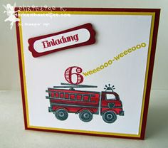 stampin up, you're my hero, feuerwehrauto, fire truck, kid's birthday, kindergeburtstag, mix marker, blender pen, invite, einladung