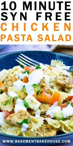 This 10 Minute Syn Free Chicken Pasta Salad is the perfect Slimming World lunch recipe! With a syn free tangy yogurt salad dressing, fresh veggies (speed food) and just the right balance of carbs and protein, it& the perfect Slimming World recipe. Slimming World Salad Dressing, Slimming World Salads, Slimming World Recipes Syn Free, Slimming World Breakfast Ideas Quick, Slimming World Lunch Ideas, Slimming World Free, Bacon Ranch Pasta Salad, Best Pasta Salad, Pasta Salad Recipes