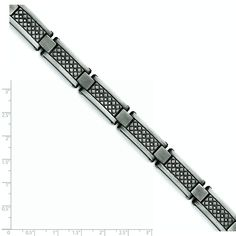 Stainless Steel Matte Antiqued 1/10ct.tw Diamond Bracelet - 9 Inch *** You can find more details by visiting the image link. (This is an affiliate link) #Jewelry