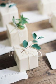 Perfecetly packaged french olive oil soaps as #weddingfavors... LOVE! Photo by @kurtboomerphoto #weddingdetails
