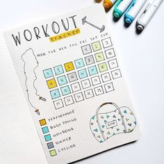 workout bullet journal page - workout bullet journal & workout bullet journal layout & workout bullet journal fitness planner & workout bullet journal ideas & workout bullet journal doodles & workout bullet journal tracker & workout bullet journal page Bullet Journal Tracker, Bullet Journal Workout, Bullet Journal Spreads, Self Care Bullet Journal, Bullet Journal Notebook, Bullet Journal Aesthetic, Bullet Journal Themes, Fitness Journal, Fitness Planner