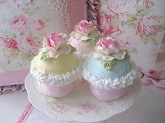 Some of my pretty faux cupcakes. Copyright 2008 Rhea Cominolo Sweet n Shabby Roses Shabby Chic Cupcakes, Cupcakes Pastel, Pretty Cupcakes, Beautiful Cupcakes, Yummy Cupcakes, Sweet Cupcakes, Flower Cupcakes, Valentine Cupcakes, Colored Cupcakes