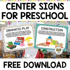 Free Center Signs for Preschool
