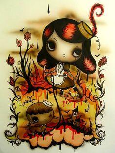 NZ artist Misery doing her thing Nz Art, Art For Art Sake, Redhead Art, Berlin, Dark Artwork, Lowbrow Art, Cartoon Styles, Unique Art, Art Girl