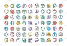 250 Medical and Health Vector Icons Vector Graphics, Vector Icons, Health Icon, Icon Design, Color Change, Medical, Templates, Tips, Social Media