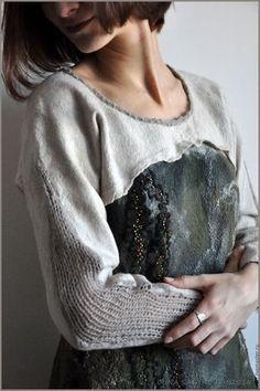 """Кофты и свитера ручной работы. Ярмарка Мастеров - ручная работа. Купить Свитер """"Дуновение"""". Handmade. Комбинированный, женский свитер"""