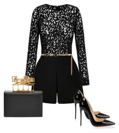 """Untitled #64"" by kghayes on Polyvore featuring Misha Collection, Valentino, Christian Louboutin, Alessandra Rich and Alexander McQueen"