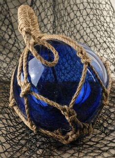 """9"""" Blue Glass Fishing Floats with Rope Lanyards"""