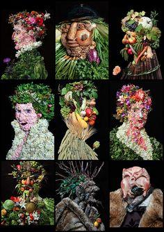 Projet sur l'alimentation. Klaus Enrique. Photographs recreating paintings using flowers, fruit and vegetables.