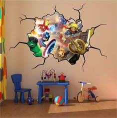 Lego Super Heroes Cracked Wall Full colour print Wall Art Sticker Decal Mural- I need this for the Lego room. Marvel Bedroom, Lego Bedroom, Kids Bedroom, Bedroom Ideas, Bedroom Furniture, Minecraft Bedroom, Bedroom Wall, Bedroom Decor, Cracked Wall