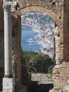 Greek Theatre and View of Giardini Naxos, Taormina, Sicily, Italy