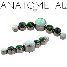 Threaded Gem Clusters in ASTM F-136 titanium with synthetic Opals #17, and 32 gems