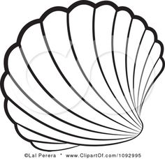 Clipart Black And White Scallop Sea Shell - Royalty Free Vector Illustration by Lal Perera Mosaic Patterns, Embroidery Patterns, Stained Glass Patterns Free, Applique Designs, Quilting Designs, Shell Drawing, Free Vector Illustration, Scallop Shells, Clipart Black And White