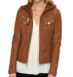 Womens Brown Leather Jacket With Hood - Coat Nj