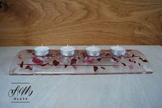Handmade fused glass candle holder tealight fused by AMGlassStudio