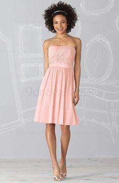 Romantic Sleeveless Strapless Zip up Chiffon Draped Bridesmaid Dress