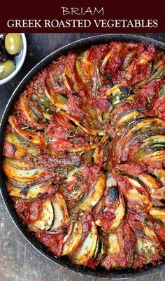 If you havent tried these Greek Roasted Vegetables you are in for a treat DELICIOUS healthy and loads of Greek flavors You probably already have all the ingredients Easy. Side Dish Recipes, Veggie Recipes, Vegetarian Recipes, Cooking Recipes, Healthy Recipes, Vegetarian Greek Recipes, Recipes Dinner, Dishes Recipes, Easy Recipes