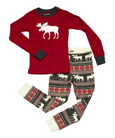 Love this Red Fair Isle Moose Pajama Set - Toddler & Kids by Lazy One on #zulily! #zulilyfinds