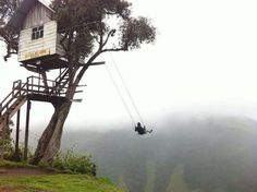 """""""Swing at the End of the World"""" at Casa del Arbol, Banos, Ecuador. I want to make this happen on our """"swing"""" through Ecuador! End Of The World, Top Photos, Scary Photos, A Well Traveled Woman, Sites Touristiques, Equador, In The Tree, Big Tree, Beautiful Places"""