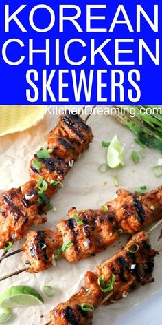 These spicy Korean Chicken Skewers are marinated and then grilled to juicy, caramelized perfection and take just 7 to to cook on the grill. Healthy Breakfast Recipes, Lunch Recipes, Appetizer Recipes, Recipes Dinner, Cocktail Recipes, Healthy Snacks, Appetizers, Chicken Skewers, Chicken Tenders