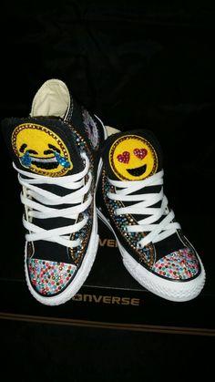 6ad4cf72a899 Girls Custom Bling Emoji Converse Sneakers-Emoji - Minnie Mouse- Hello  Kitty- Frozen