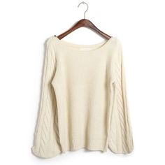 Plain Round Collar Pullover Kintted Sweater-Wendybox.com
