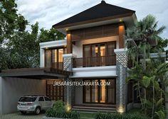 3 Storey Balinese Tropical Resort House for Mrs Regina Jakarta - Jasa Arsitek jakarta Modern Brick House, Modern Tropical House, Modern House Design, Facade House, House Roof, Minimalist Architecture, Architecture Design, Style Bali, Small Villa