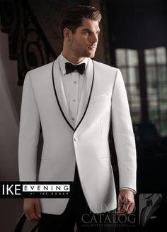Ike Behar Evening White Waverly One-Button Shawl with Black Trim Lapels