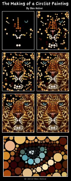 Art Made Entirely of Circles by Ben Heine «TwistedSifter zentangle lion pointilism Dot Art Painting, Mandala Painting, Painting Patterns, Mandala Art, Stone Painting, Ben Heine, Aboriginal Dot Art, Grand Art, Mandala Rocks