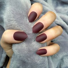 Doobys short Stiletto Nails Matte Deep Red 24 Claw Point False Nails ($24) ❤