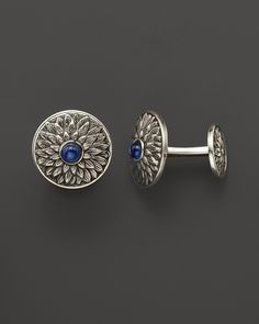 "Buccellati ""Anemone"" Sterling And Blue Sapphire Cuff Links"