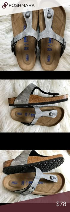 """Birkenstock """"jeans"""" soft footbed 38 Originally $110   Like new only tried on.  All items are inspected throughly and filmed before shipment.  Sz 38!regular width. Soft Footbed  No returns so please know your size in Birks before ordering. I can only guarantee I will be sending the European size stated on the listing. Price is FIRM    Thanks! Birkenstock Shoes Sandals"""