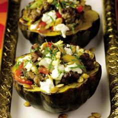 Guy Fieri: Roasted Acorn Squash with Turkey Sausage, Peppers, and Goat Cheese - Shape Magazine