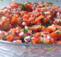 Salvadoran chirmol,  like pico de gallo, served best with carne asada, and Salvadoran rice