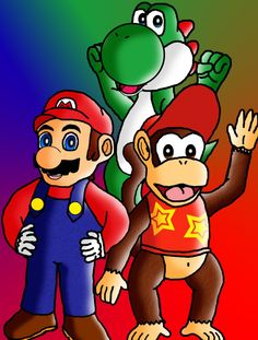 Mario Drawings | Mario, Diddy, and Yoshi (85%) photo MarioDiddyandYoshi.jpg