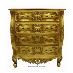 Josette 5 Drawer Carved Chest- Gold Leaf French Ornate Modern Baroque & Rococo Furniture www.fabulousandbaroque.com
