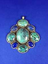 Nepalese Sterling Silver Turquoise Pendant | eBay
