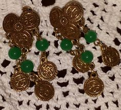 Vintage Peking Glass Chinese Gold Coins Feng Shui Dangle Earrings Screw Backs Pat Pend. by Ourfind on Etsy Gold Coins, Feng Shui, Dangle Earrings, Vintage Jewelry, Dangles, Chinese, Charmed, Bracelets, Glass