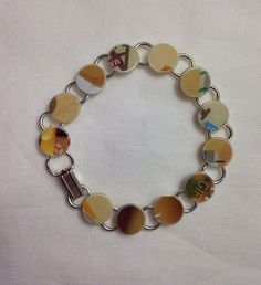 Cream Recycled Giftcard Bracelet  - Recycled Gift card Charm Bracelet featuring creams, whites, and browns on Etsy, $10.00