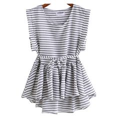 Black White Round Neck Striped Dip Hem Top (23 BAM) ❤ liked on Polyvore featuring tops, striped top, black white striped top, stripe top, round neck top and black white top
