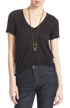 Free People 'Pearls' Raw Edge V-Neck Tee available at #Nordstrom