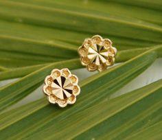 Gold flower stud earrings flower post earrings by AAprill on Etsy, $22.00