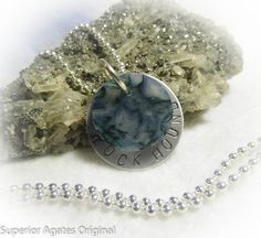 Rock Hound Green Moss Agate Hand Stamped by superioragates on Etsy, $10.00