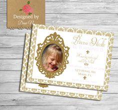 New to DesignedbyDaniN on Etsy: Princess birthday invitation gold and pink party invite princess girl party glitter damask invitation (15.00 USD)