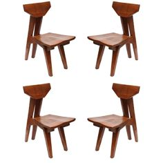 A Set of 4 1970's Arts and Crafts Chairs signed Jeffrey Greene
