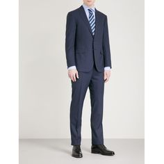 Ralph Lauren Purple Label Regular-fit wool suit ($2,140) ❤ liked on Polyvore featuring men's fashion, men's clothing, men's suits, mens 3 button suits, mens tailored suits, merino wool mens clothing, mens peak lapel suits and mens wool suits