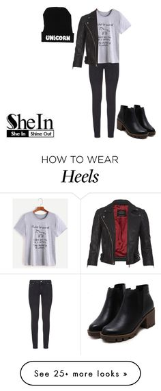 """""""T-Shirt from SheIn"""" by hola-hi on Polyvore featuring Paige Denim and AllSaints"""