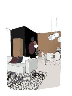 Flexa kleur van het jaar 2019: Spiced Honey met zwart wit in de woonkamer Honey Colour, Color Of The Year, Color Pallets, Drawing Sketches, Drawings, Colorful Decor, Creative Director, Color Trends, Toddler Bed