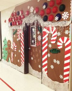 Christmas Holiday Door decoration, for school. Gingerbread house door. I spent about $12 on this door decor (school provided paper) but took about 5 hours to do. But so worth it- all the kids really love it! Thanks to a couple pinterest ideas I collaborated from!