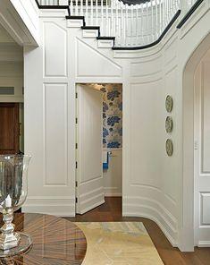 Hidden bathroom under stairs + woodworking. Gorgeous.